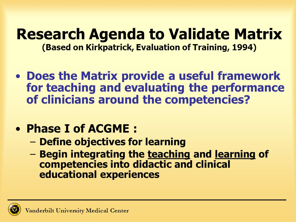 Research Agenda to Validate Matrix (Based on Kirkpatrick, Evaluation of Training, 1994)