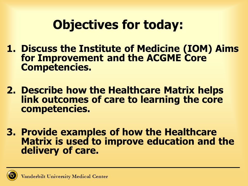 Objectives for today: Discuss the Institute of Medicine (IOM) Aims for Improvement and the ACGME Core Competencies.