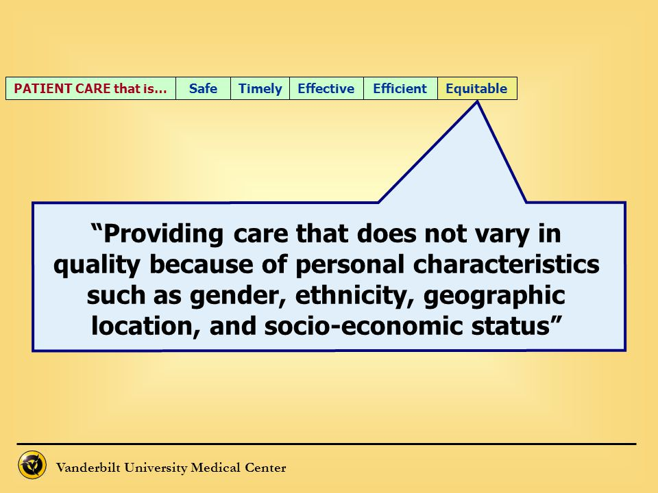 PATIENT CARE that is… Safe. Timely. Effective. Efficient. Equitable.