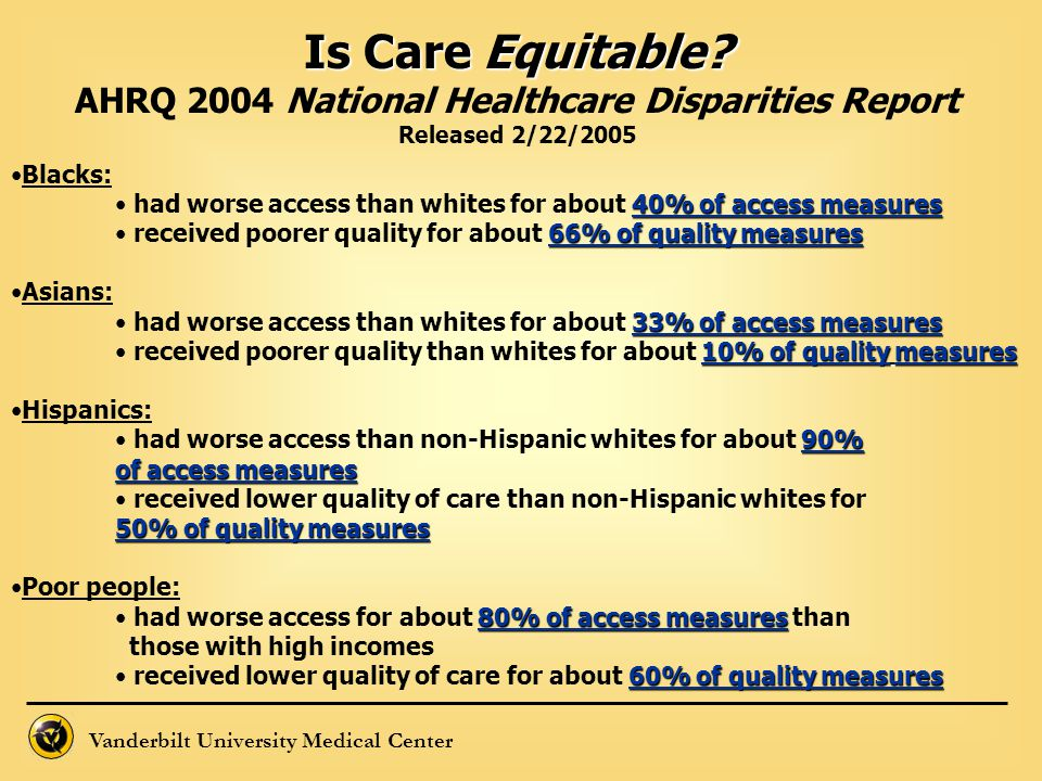 AHRQ 2004 National Healthcare Disparities Report