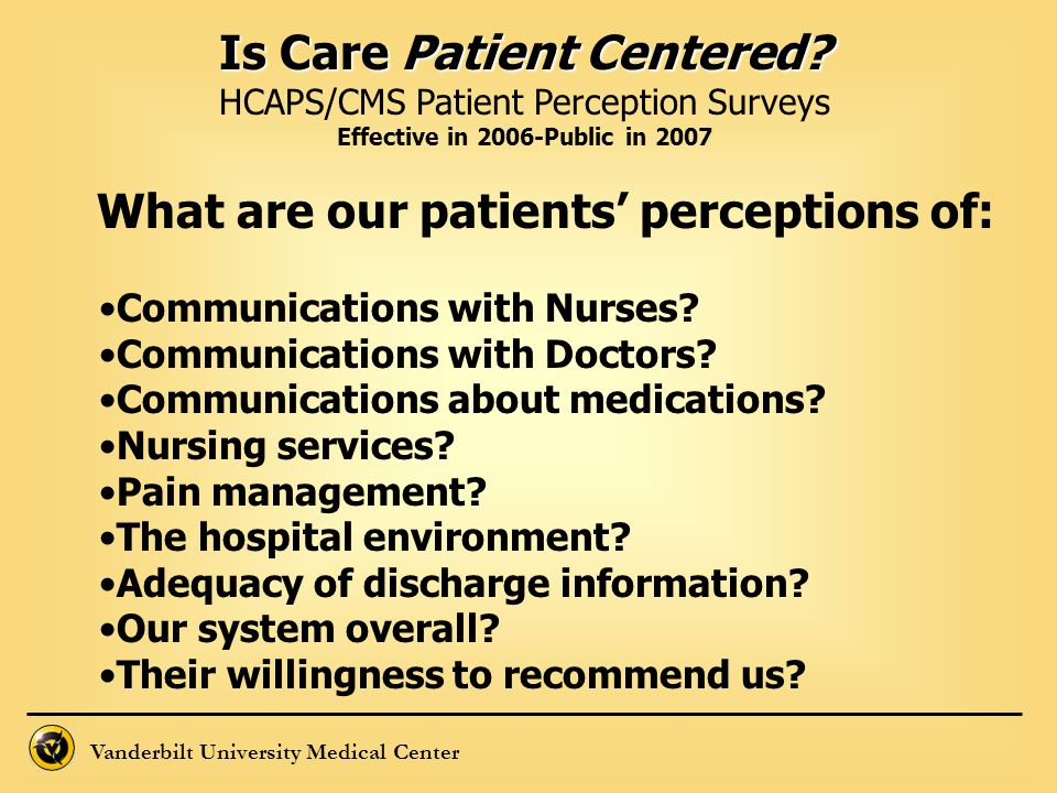 Is Care Patient Centered What are our patients' perceptions of: