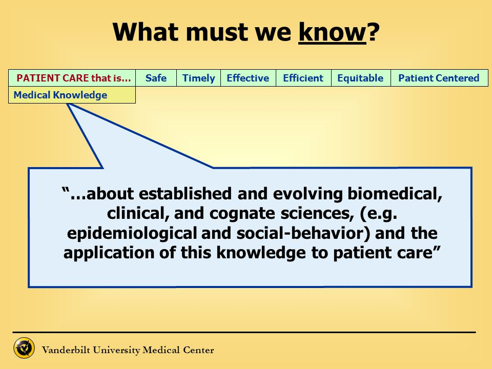 What must we know PATIENT CARE that is… Timely. Efficient. Effective. Equitable. Patient Centered.