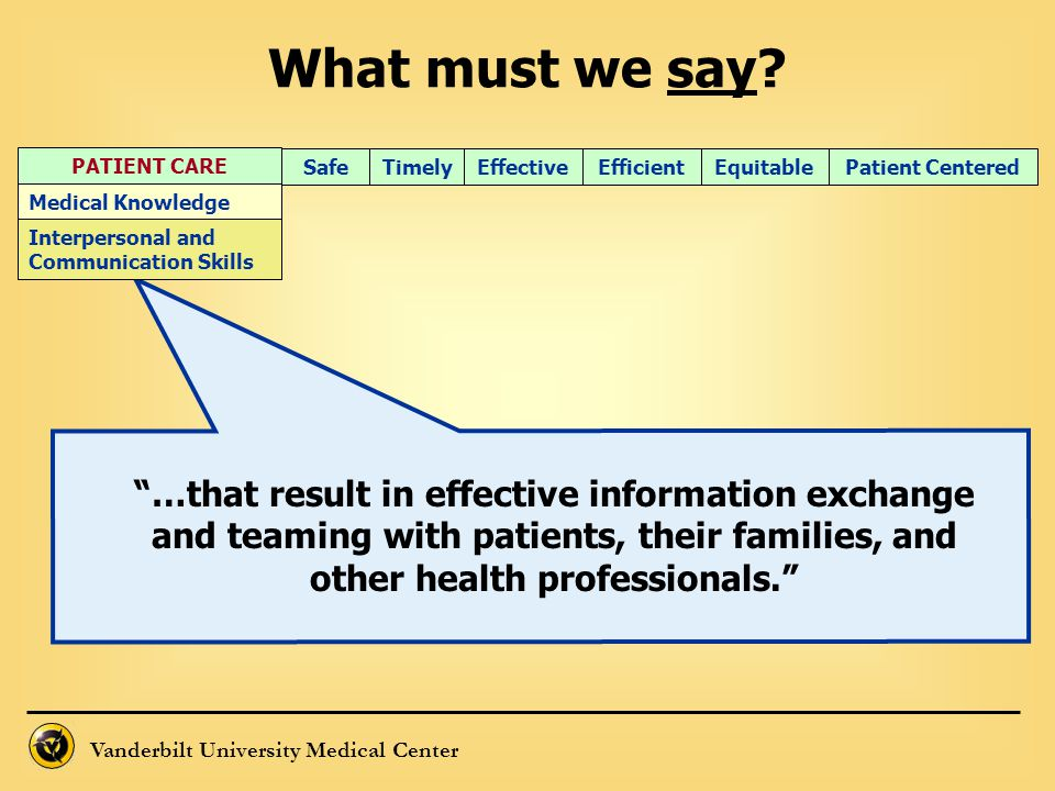 What must we say PATIENT CARE. Timely. Efficient. Effective. Equitable. Patient Centered. Safe.