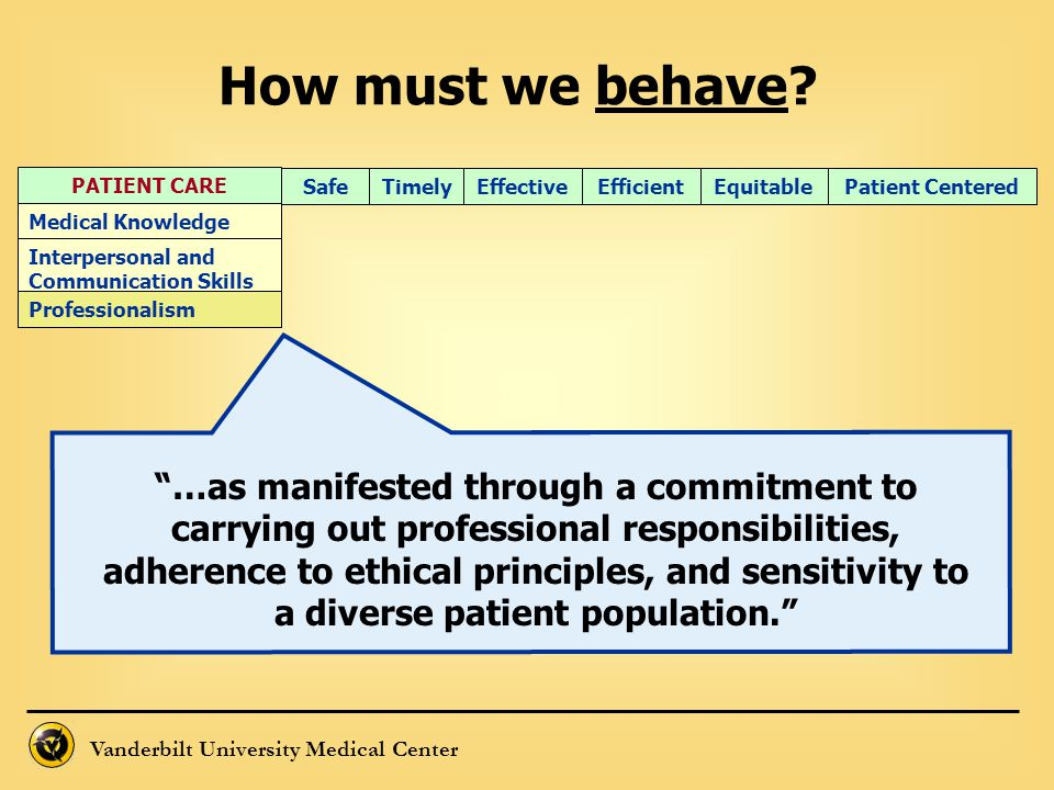 How must we behave PATIENT CARE. Timely. Efficient. Effective. Equitable. Patient Centered. Safe.