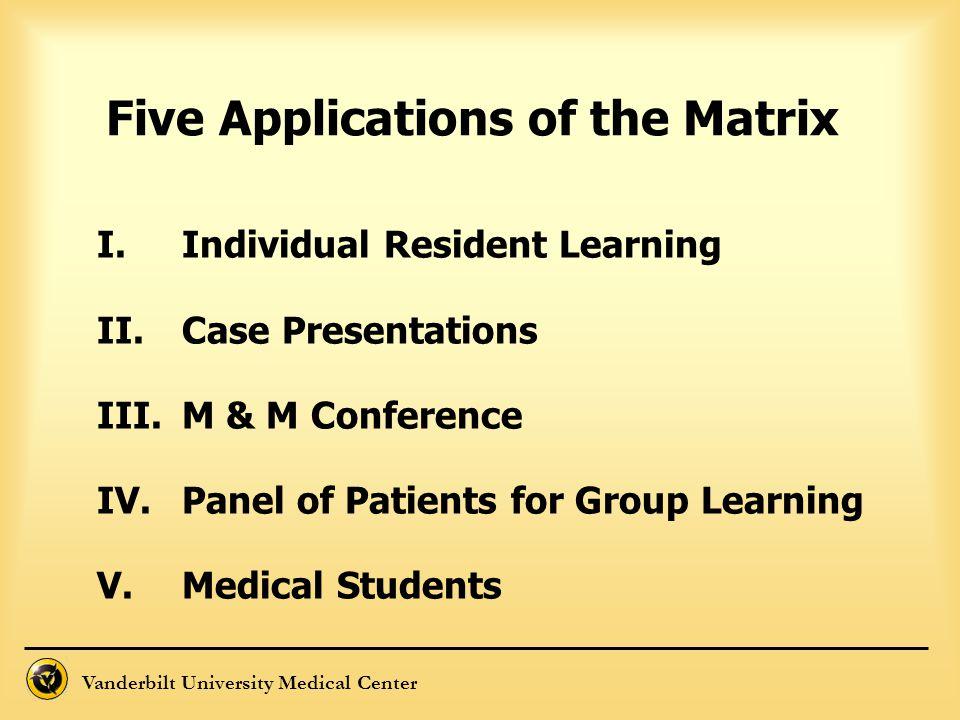 Five Applications of the Matrix