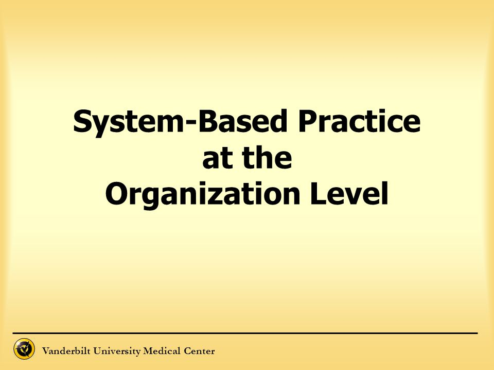 System-Based Practice at the Organization Level
