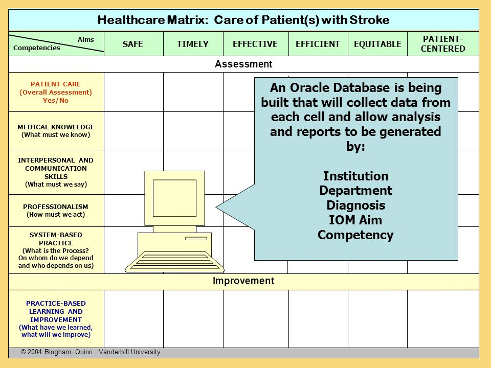 Healthcare Matrix: Care of Patient(s) with Stroke
