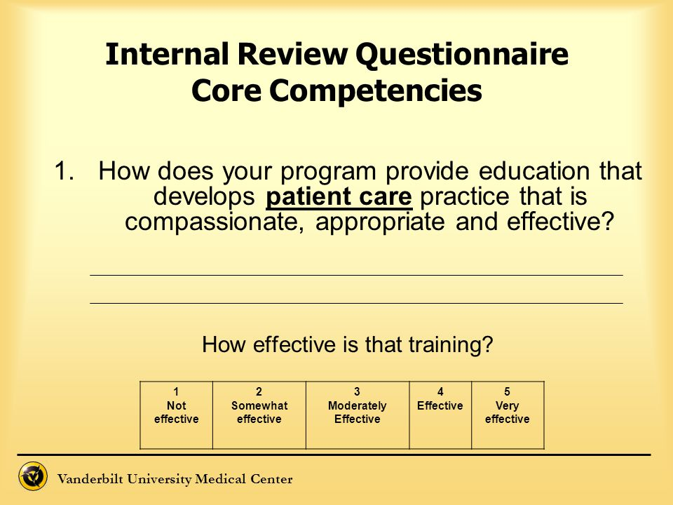Internal Review Questionnaire Core Competencies