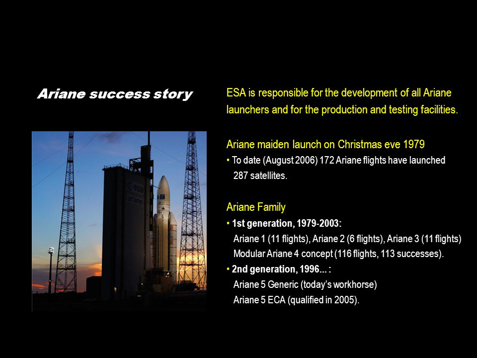 Ariane success story ESA is responsible for the development of all Ariane launchers and for the production and testing facilities.