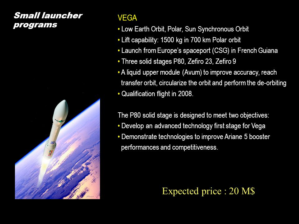 Expected price : 20 M$ Small launcher programs VEGA