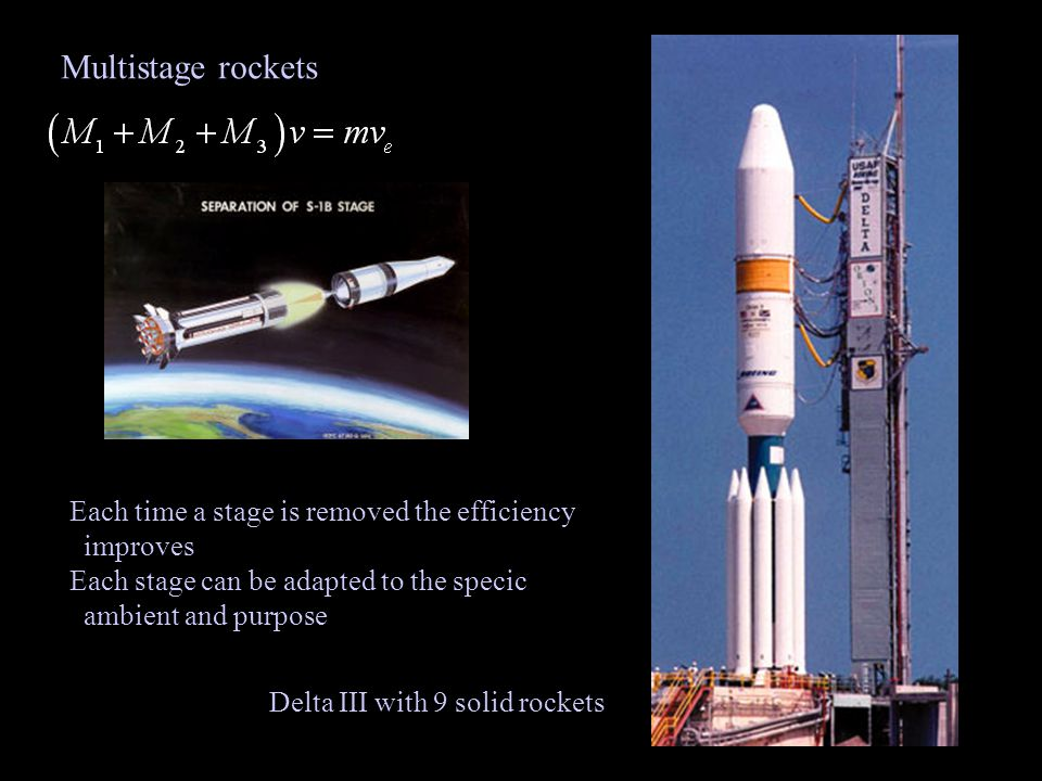 Multistage rockets Each time a stage is removed the efficiency