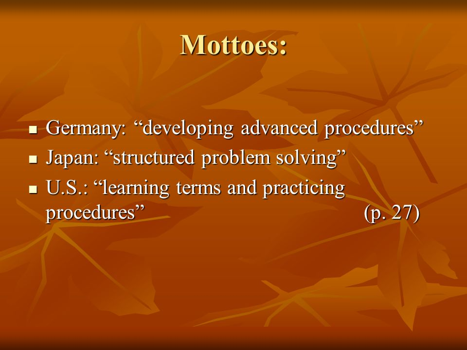 Mottoes: Germany: developing advanced procedures