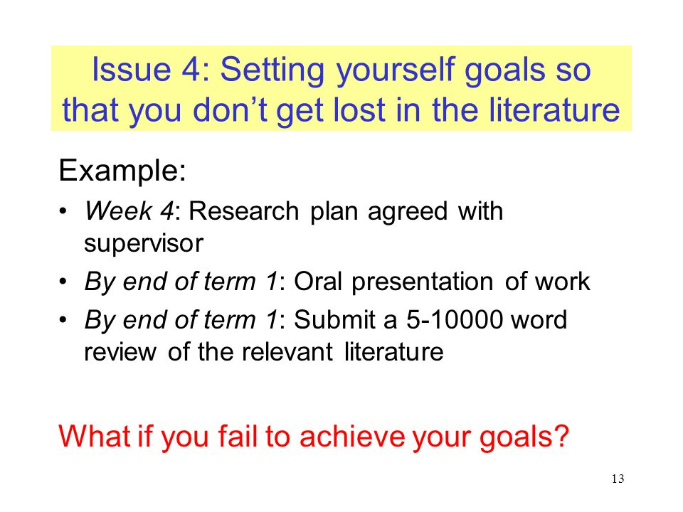 Issue 4: Setting yourself goals so that you don't get lost in the literature