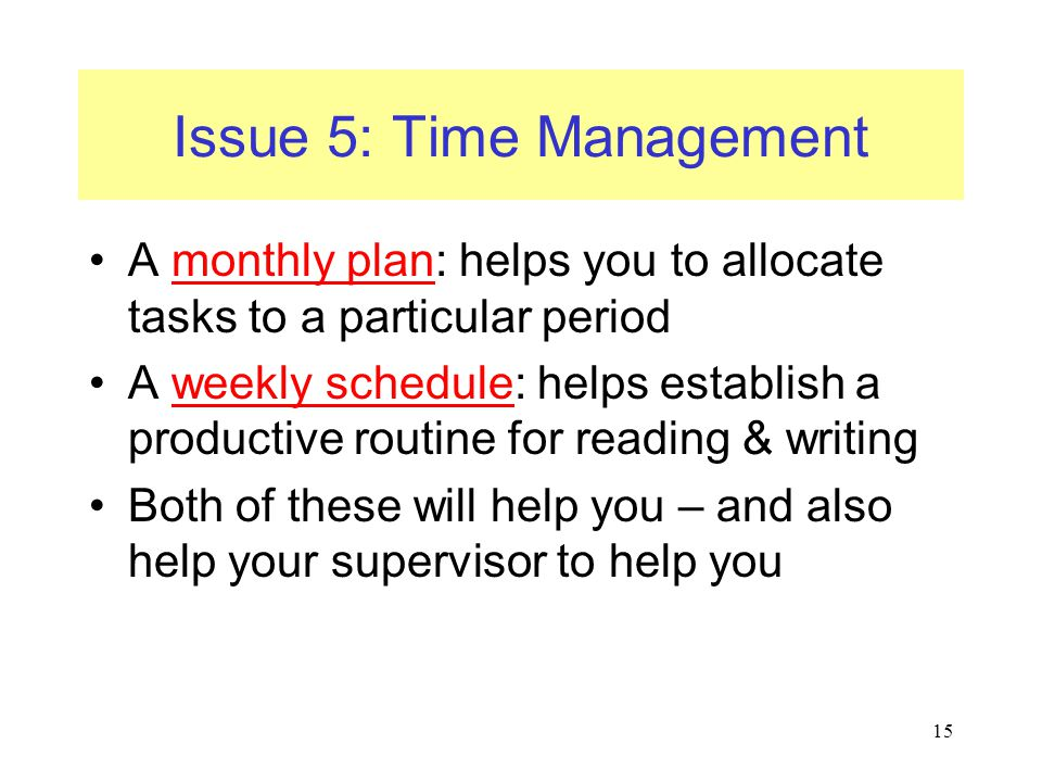 Issue 5: Time Management