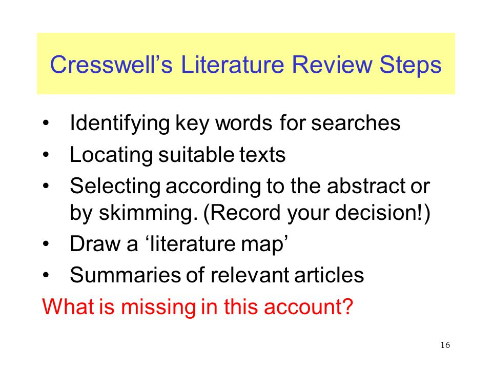 Cresswell's Literature Review Steps