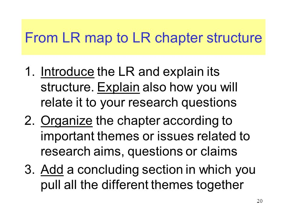 From LR map to LR chapter structure