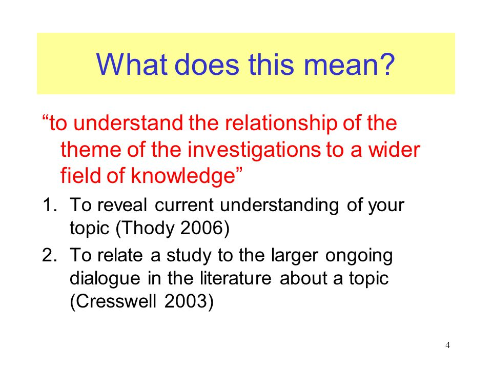 What does this mean to understand the relationship of the theme of the investigations to a wider field of knowledge