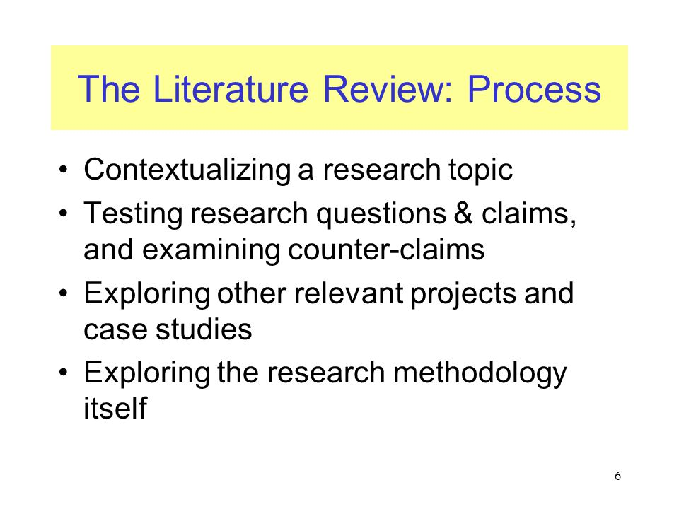 The Literature Review: Process