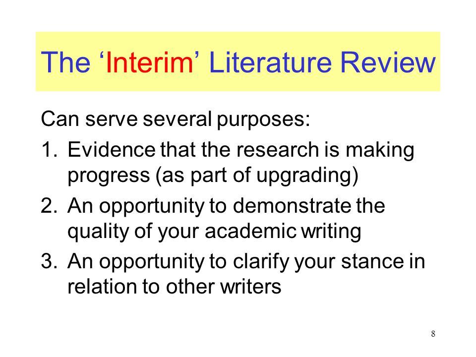 The 'Interim' Literature Review