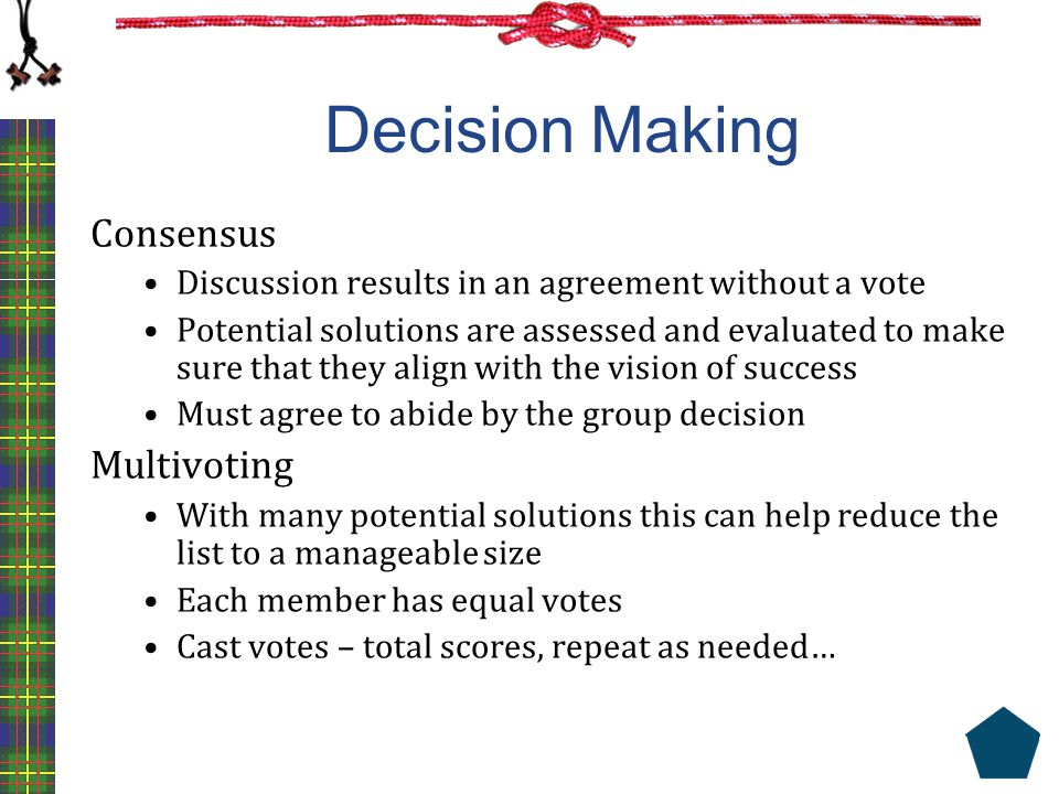 Decision Making Consensus Multivoting