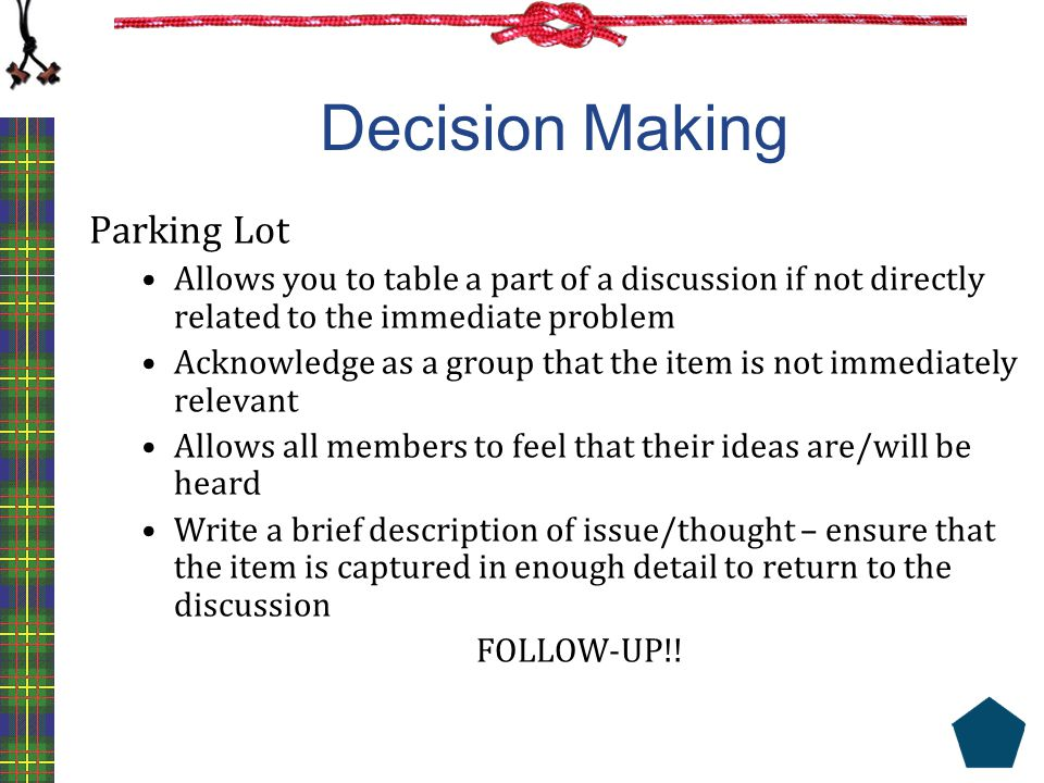 Decision Making Parking Lot