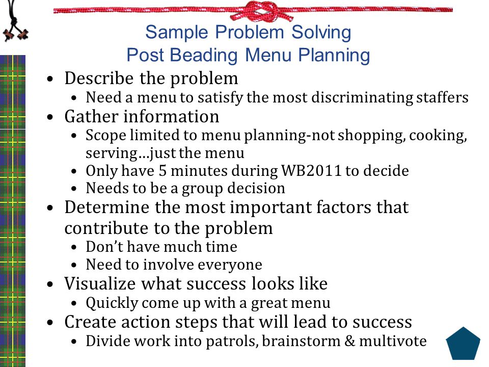 Sample Problem Solving Post Beading Menu Planning