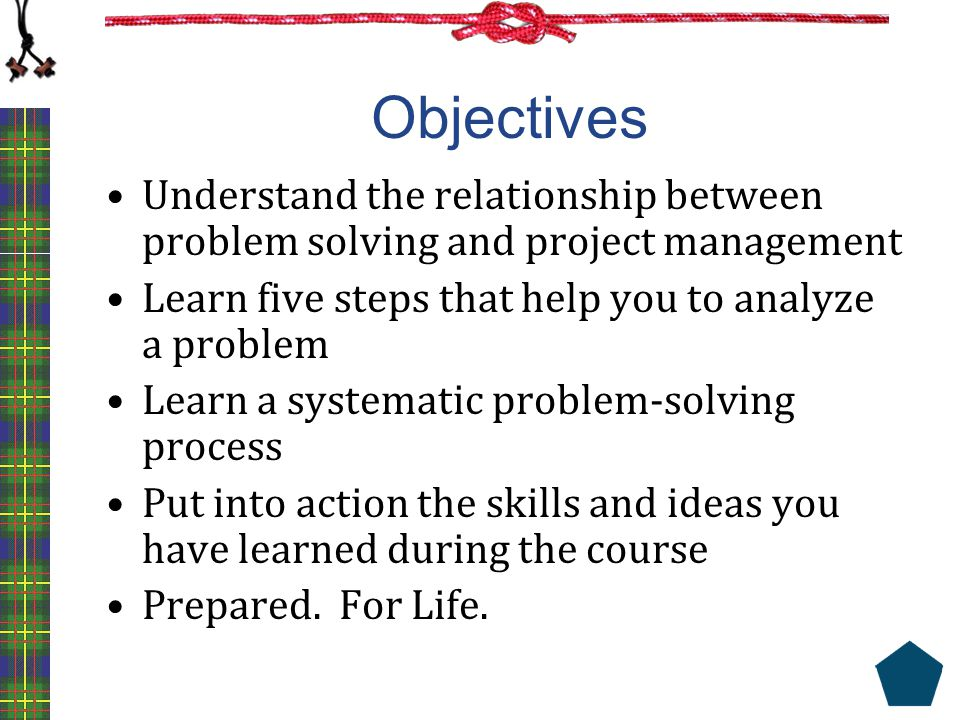 Objectives Understand the relationship between problem solving and project management. Learn five steps that help you to analyze a problem.