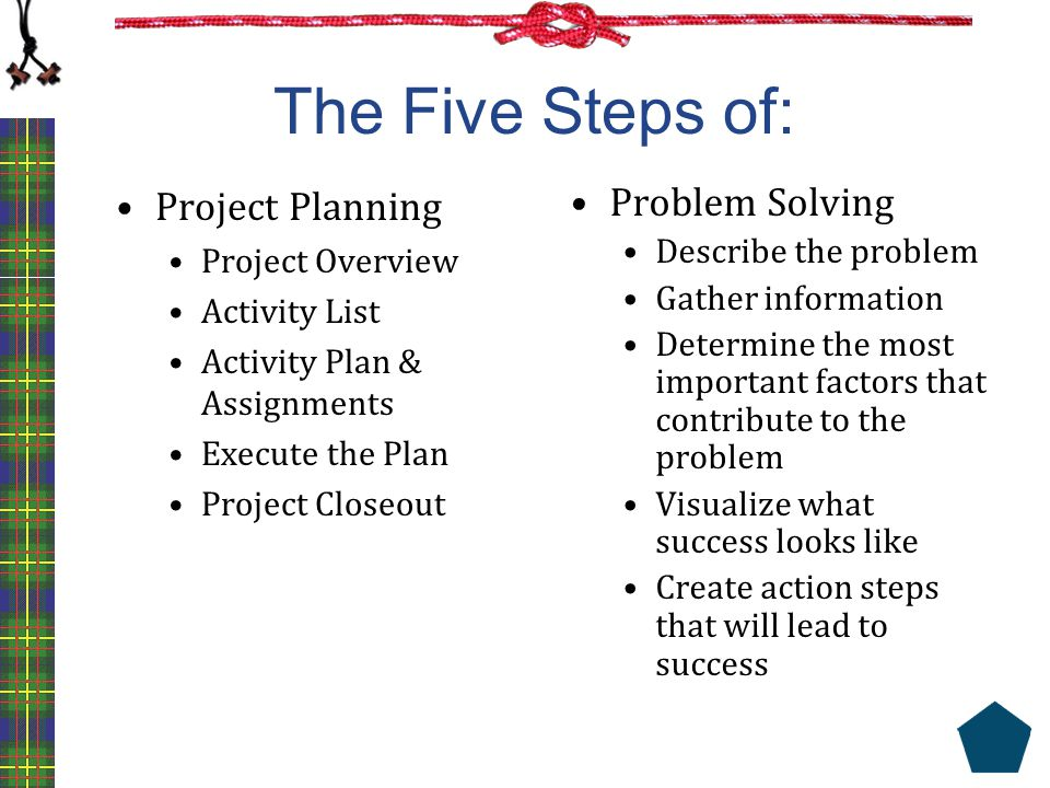 The Five Steps of: Project Planning Problem Solving Project Overview