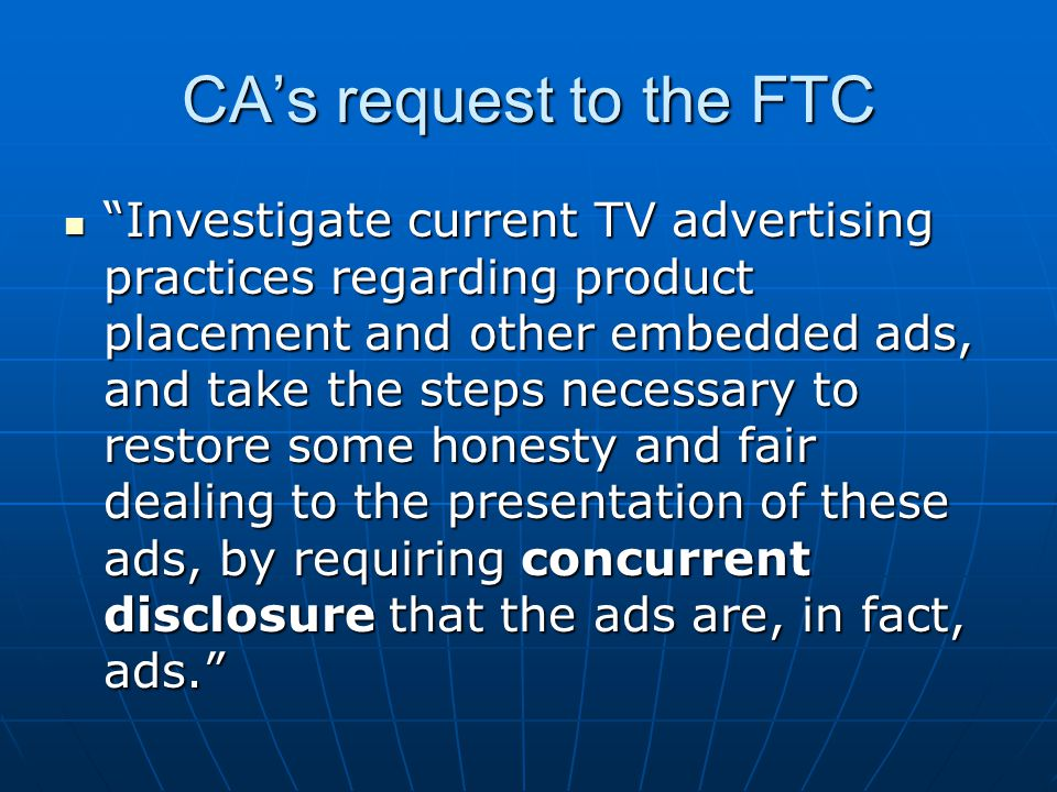 CA's request to the FTC
