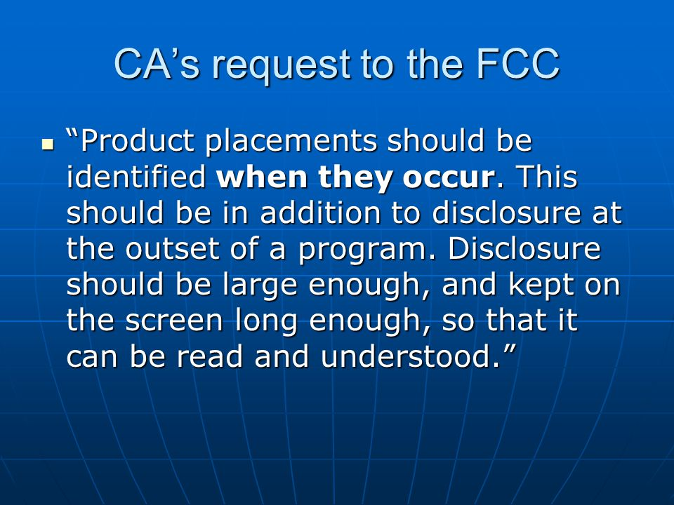 CA's request to the FCC