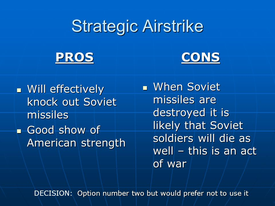 Strategic Airstrike PROS CONS