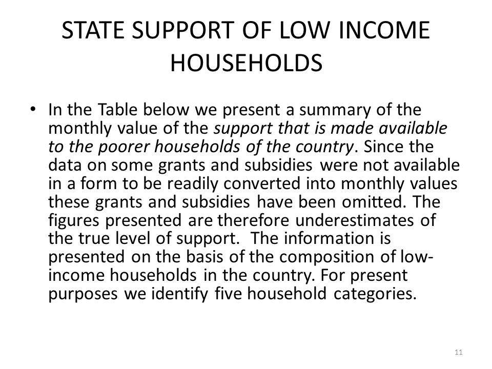 STATE SUPPORT OF LOW INCOME HOUSEHOLDS