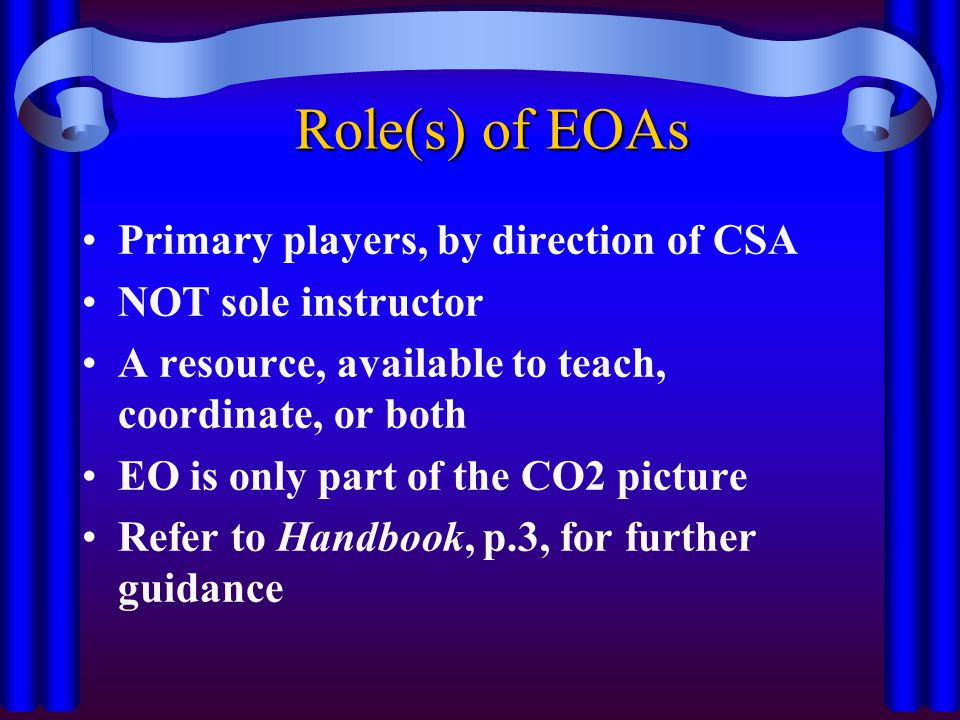 Role(s) of EOAs Primary players, by direction of CSA