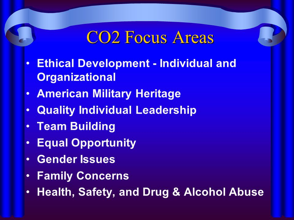 CO2 Focus Areas Ethical Development - Individual and Organizational