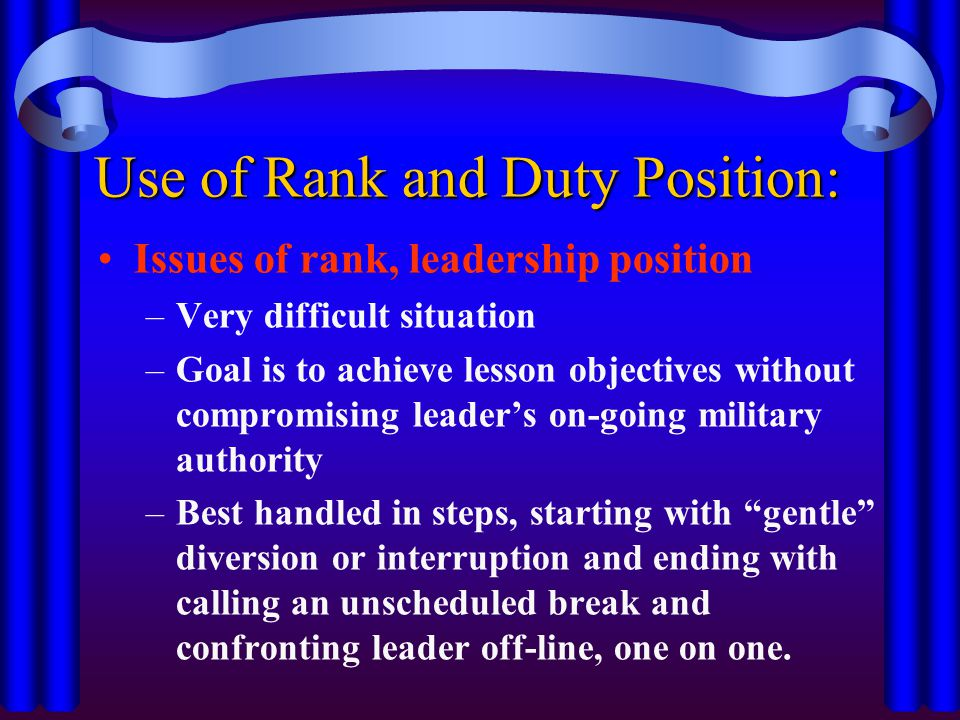 Use of Rank and Duty Position: