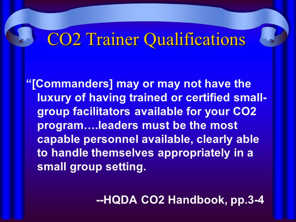 CO2 Trainer Qualifications