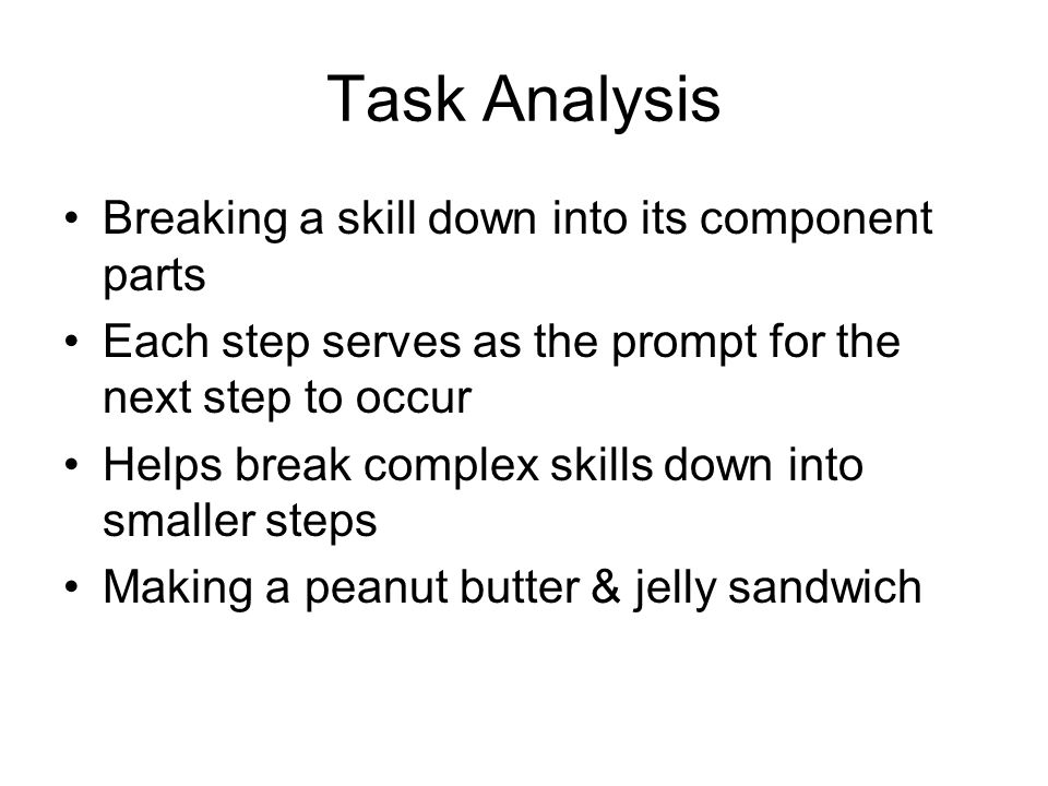 Task Analysis Breaking a skill down into its component parts