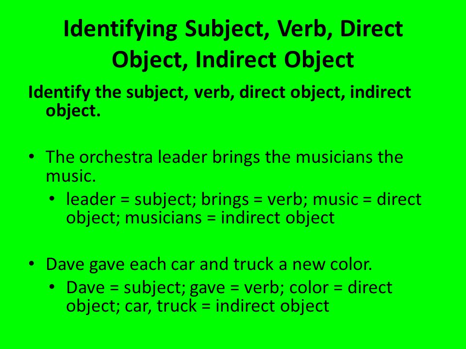 Identifying Subject, Verb, Direct Object, Indirect Object