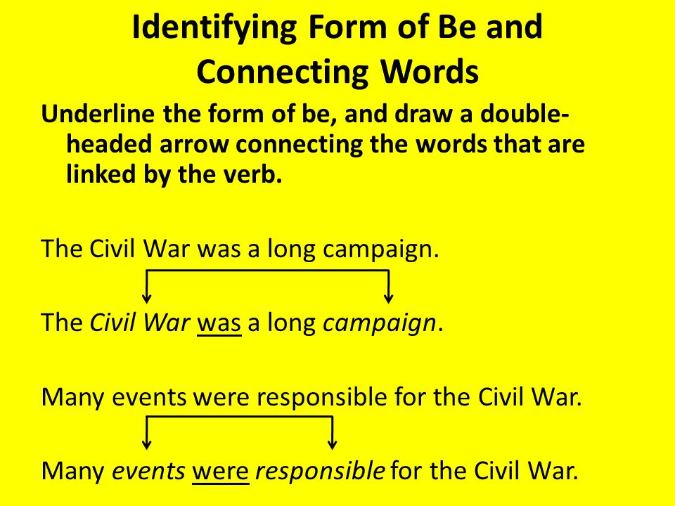 Identifying Form of Be and Connecting Words