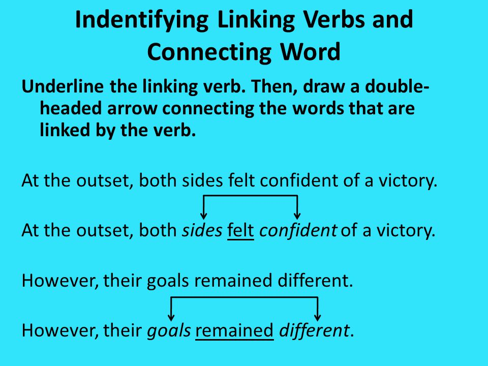 Indentifying Linking Verbs and Connecting Word