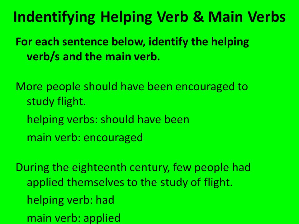 Indentifying Helping Verb & Main Verbs