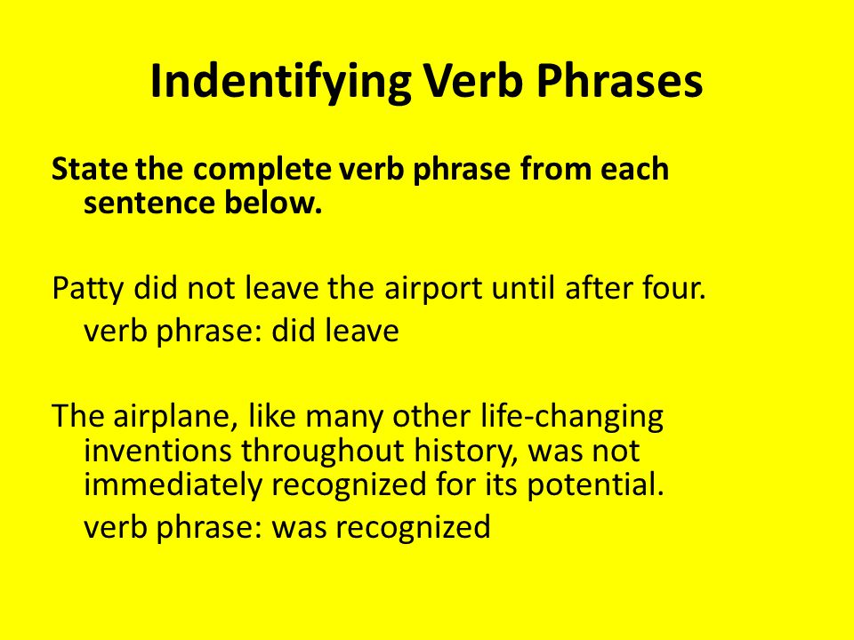 Indentifying Verb Phrases