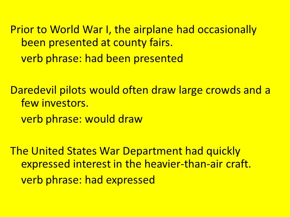 Prior to World War I, the airplane had occasionally been presented at county fairs.