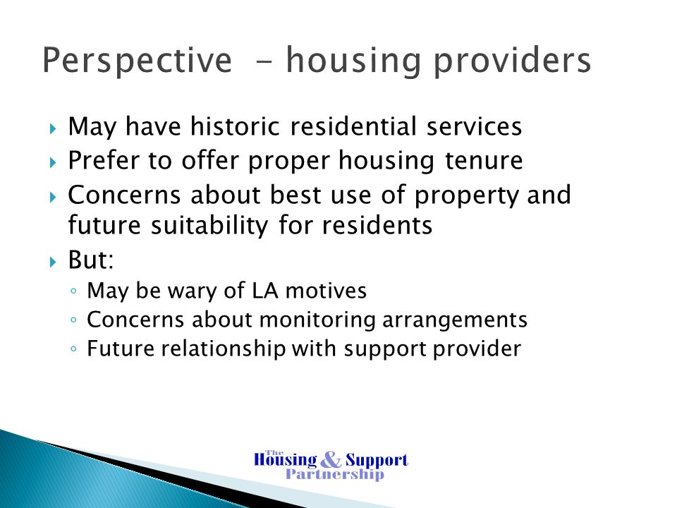 Perspective - housing providers