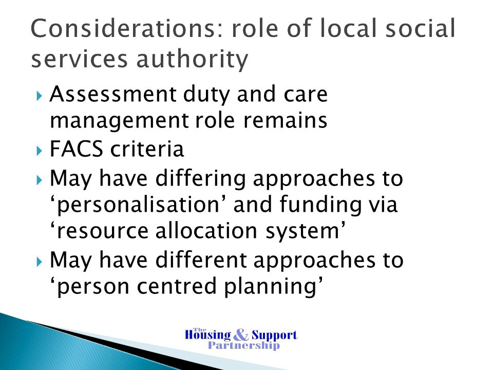 Considerations: role of local social services authority