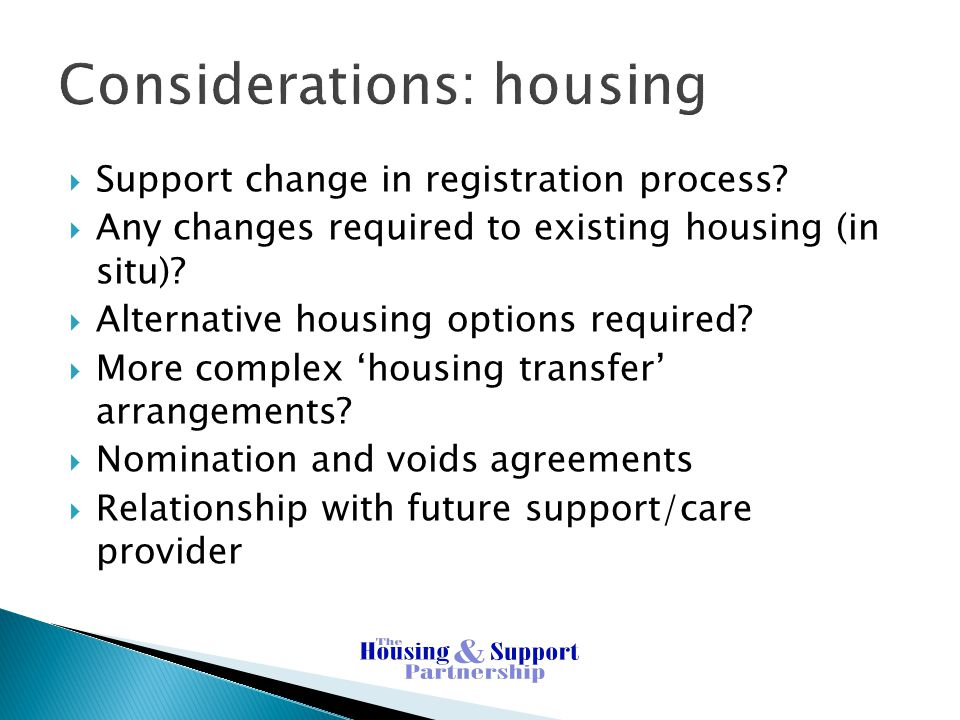 Considerations: housing