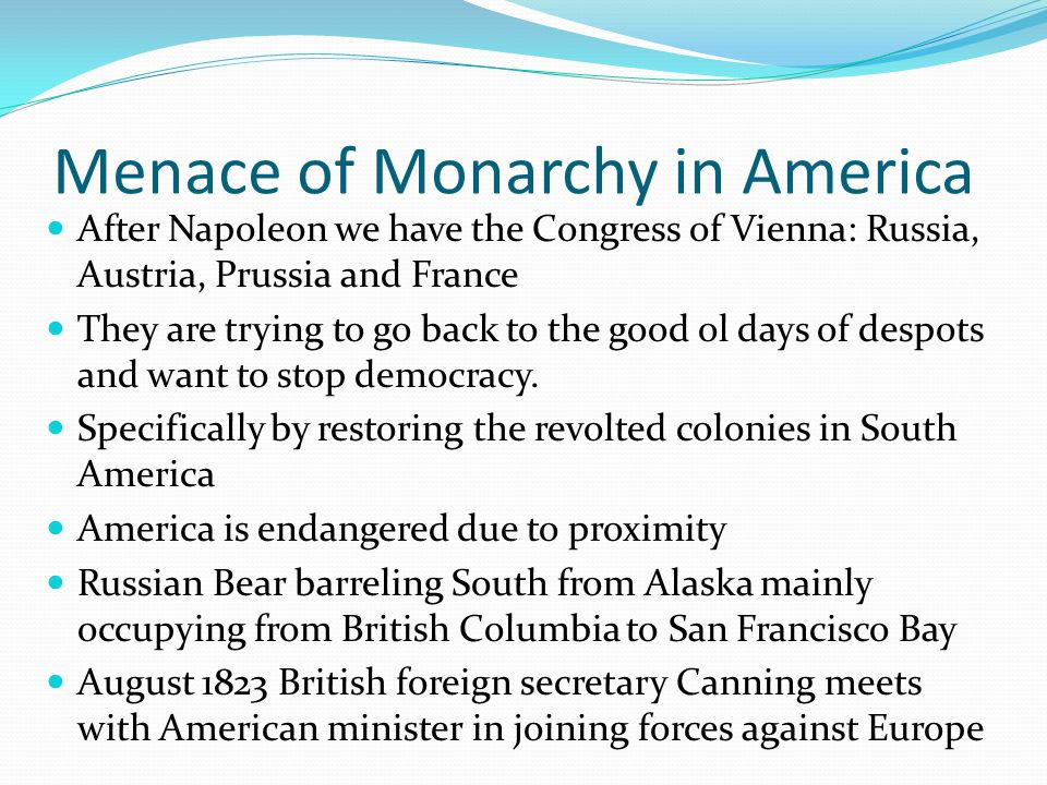 Menace of Monarchy in America