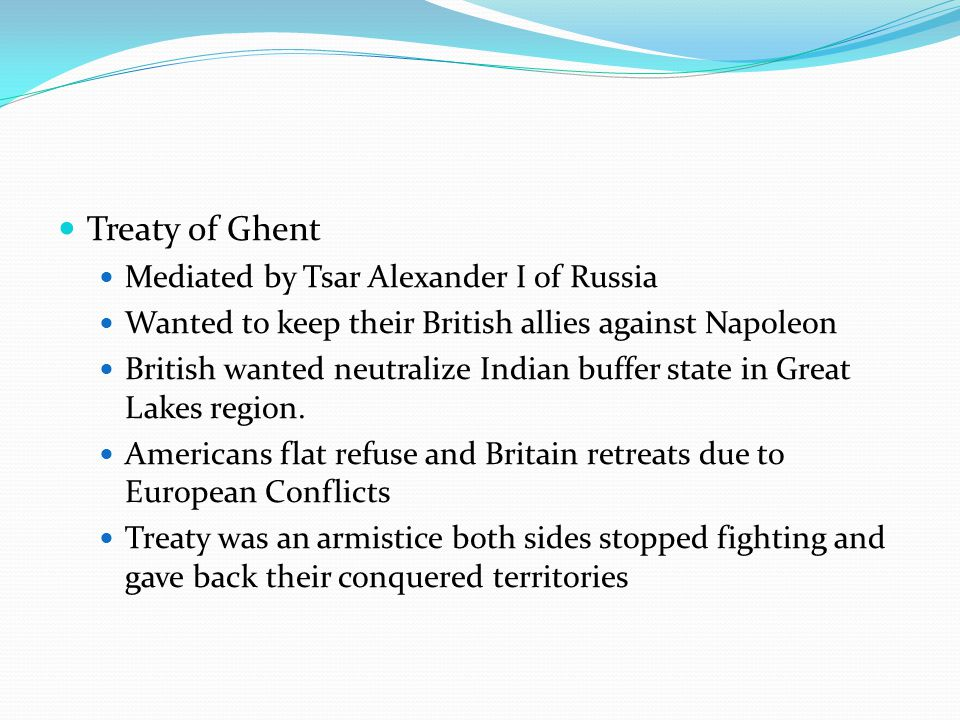 Treaty of Ghent Mediated by Tsar Alexander I of Russia