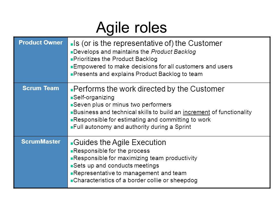 Agile roles Is (or is the representative of) the Customer