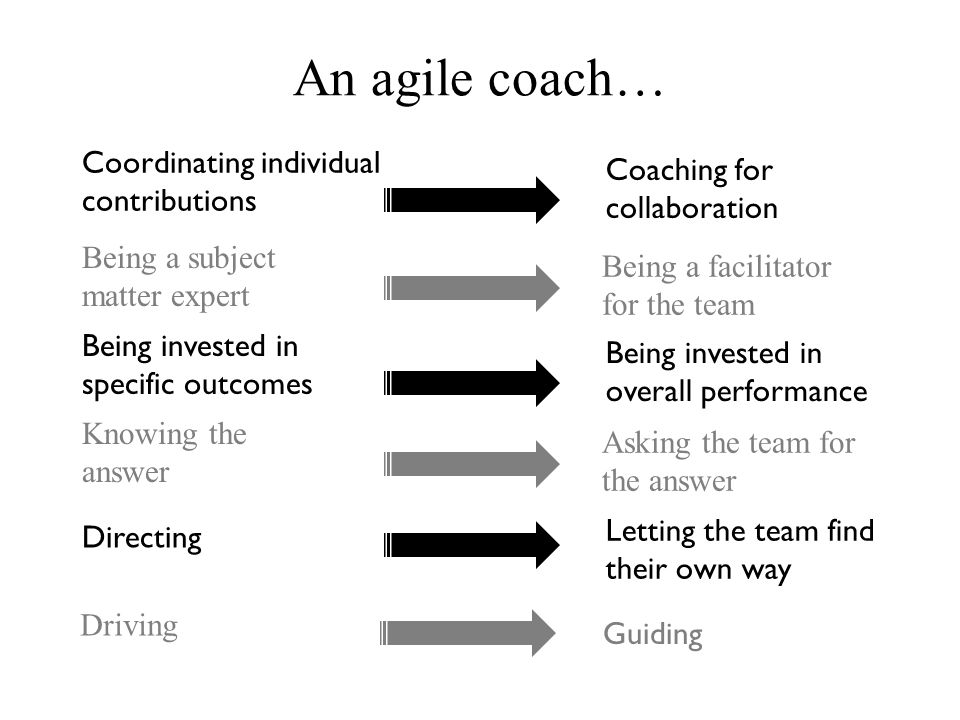An agile coach… Coordinating individual Coaching for contributions